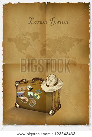 background tourism antique papyrus suitcase hat and a map of the world.hand drawn.vector illustration