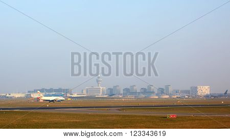 Amsterdam, Netherlands - March 11, 2016: Amsterdam Airport Schiphol in Netherlands. Amsterdam Airport Schiphol is the Netherlands' main international airport, located southwest of Amsterdam.