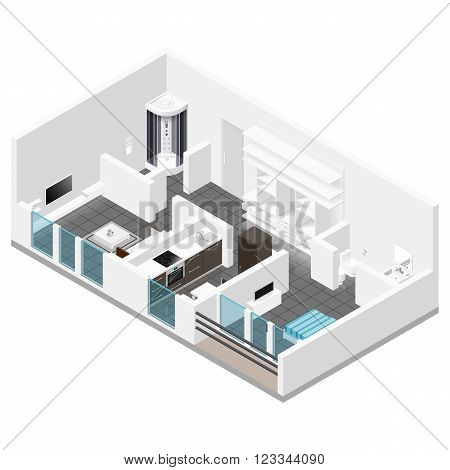Residential apartment with balcony isometric icon set vector graphic illustration
