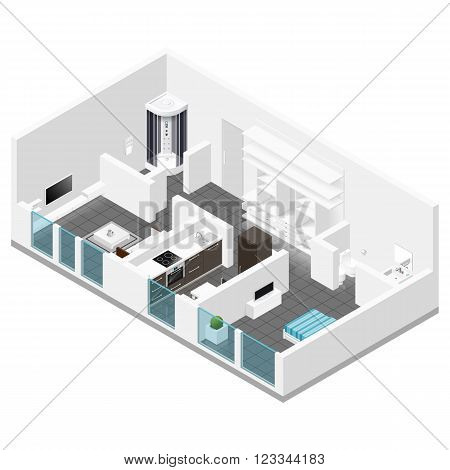 Residential apartment isometric icon set vector graphic illustration