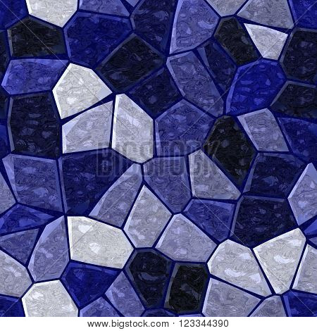 dark blue marble irregular plastic stony mosaic seamless pattern texture background with grout