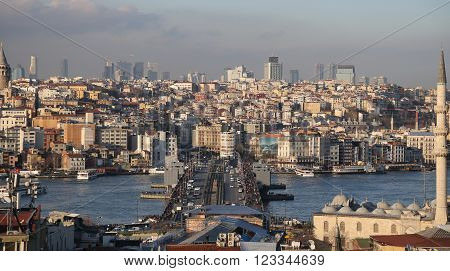 ISTANBUL, TURKEY - MARCH 05, 2016: Galata and Karakoy district in Istanbul city Turkey