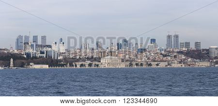 Dolmabahce Palace and Besiktas in Istanbul City Turkey