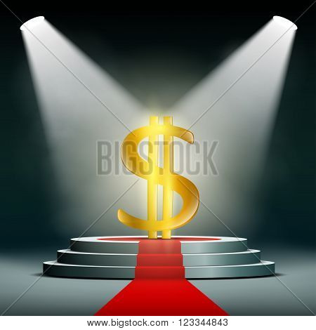 Currency dollar on a pedestal illuminated by searchlights. Profit in business. Gold and foreign exchange reserve. Stock vector illustration.