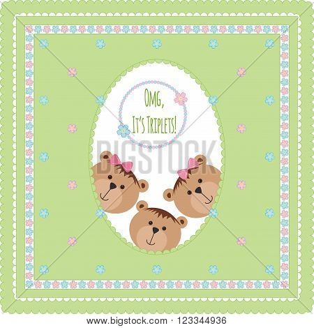 Three happy baby triplets. Baby arrival announcement card . Triplets baby boy, girls  shower card, cute newborn baby triplets. Teddy bears, kid style greeting card vector background