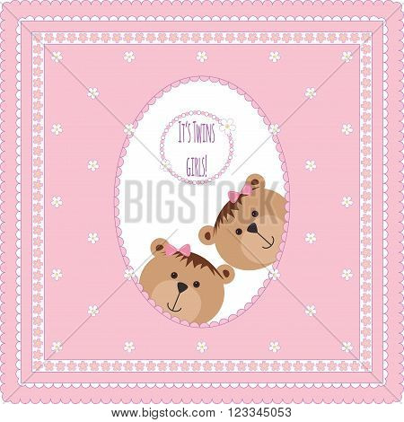 Greeting card with teddy bears and flowers. Vector illustration. Baby arrival announcement card, Twin baby girls  shower card