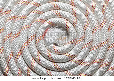 Close-up of thick security rope circle hank