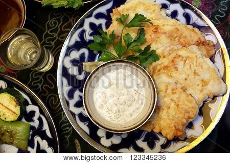 Cod In Batter With Sauce
