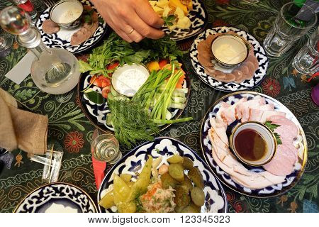 Various Appetizers On A Plates
