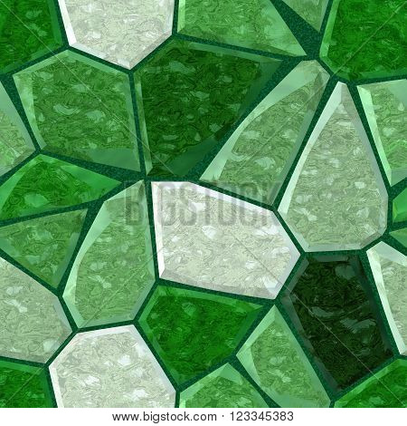 green marble irregular plastic stony mosaic seamless pattern texture background with dark grout