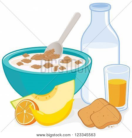 Breakfast. A bowl of cereal, bottle of milk, juice, toast and fruits: melon, orange and banana.