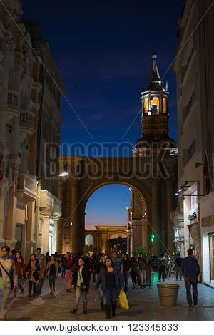 People On Main Square At Dusk, Arequipa, Peru