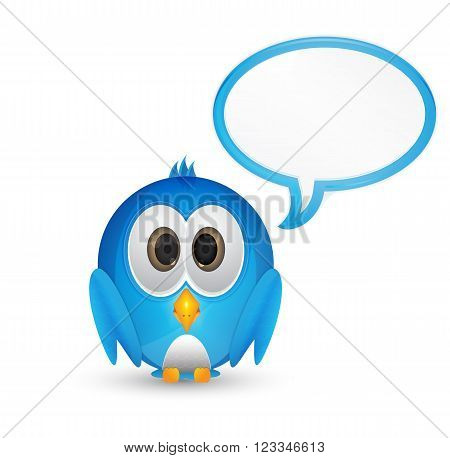 cartoon character blue cute bird with speech bubble