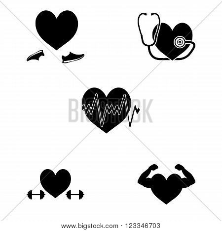 Strong healthy fitness heart simple  icons set