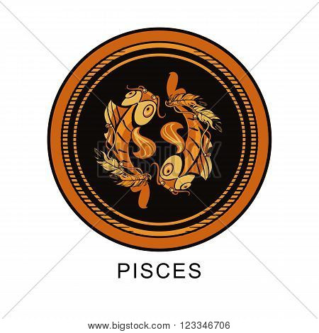 vector illustration of the sign of Pisces zodiac round frame on a black background isolated