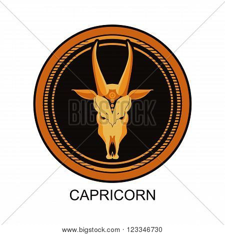 vector illustration zodiac sign Capricorn in round frame on a black background isolated