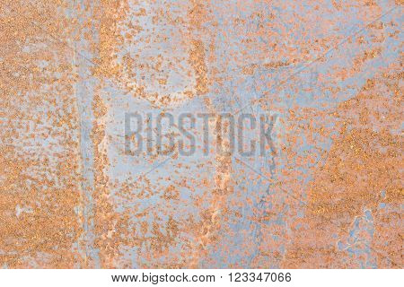 Rust on metal surfaces Caused by a reaction of metal and air humidity.
