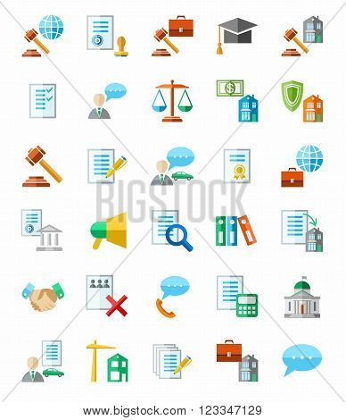 Flat, colored icons, a lawyer. Vector clip art.