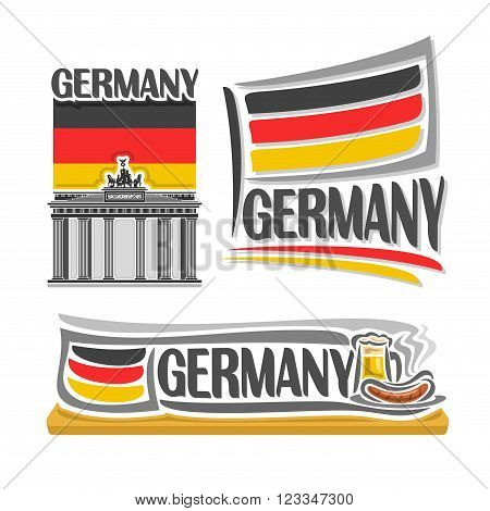 Vector illustration of the logo for Germany, consisting of 3 isolated illustrations: flag over the Brandenburg gate, horizontal symbol of Germany and the flag on background of beer and sausages