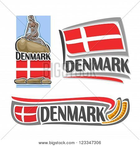 Vector of the logo for Denmark, consisting of 3 isolated illustrations: danish flag under the statue of the little mermaid, horizontal symbol of Denmark and flag on background golden horns Gallehusa