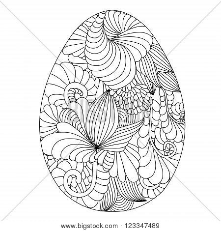 Hand Drawn Ornamental Easter Eggs For Coloring Book For Adult And Design Elements. Cute Doodle Style