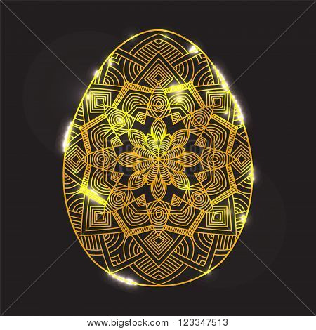Golden Glowing Easter Egg With Mandala Pattern With Highlights On It. Abstract Egg. Ideal For Greeti