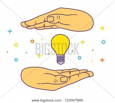 Vector flat style on background. Illustration innovative idea - shining light bulb in hand. Icon set for presentation of save energy.