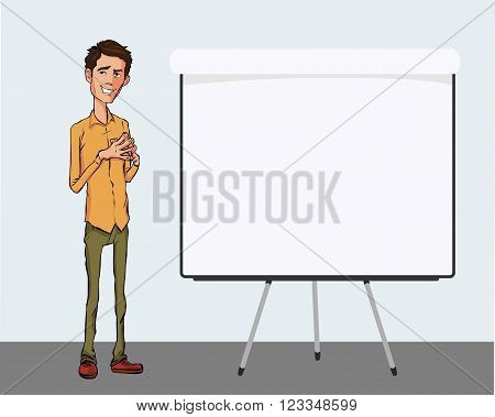 Business speech near the flip chart. Vector presentation of business product project report at the conference. Man in shirt tells the story. Storytelling and conference speaker for slide template
