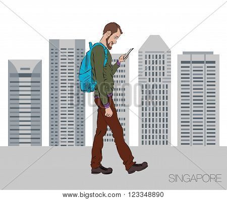 Online services on the smartphone. Entertainment and business through cloud technology. Man is walking in the city of Singapore with a mobile phone. Vector illustration for presentation of mobile app