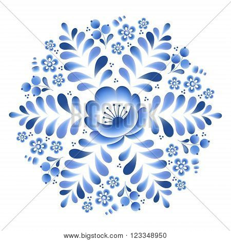 Blue flowers floral russian porcelain round frame with beautiful folk ornament. Vector illustration. Decorative composition.
