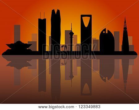 Riyadh Saudi Arabia skyline vector silhouette with sunrise