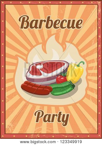 Vintage BBQ vector poster. Grill restaurant barbecue, steak sausage hot food illustration