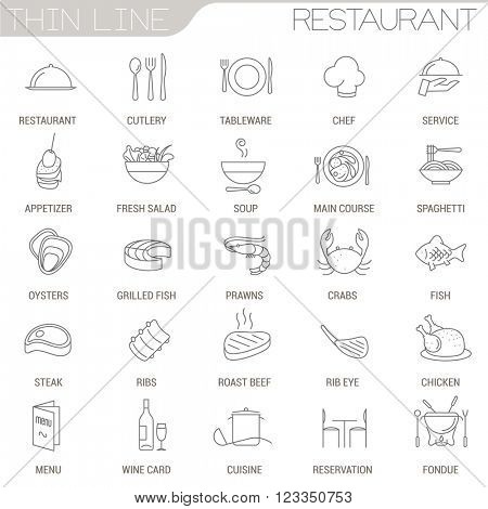 Thin line restaurant vector interface icon set.