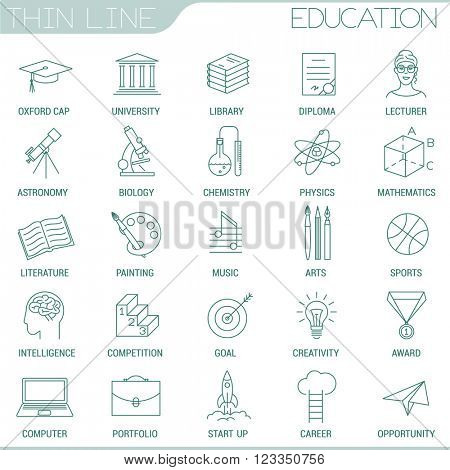 Thin line education vector interface icon set.
