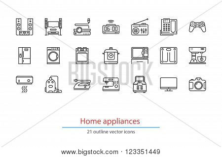 Set of outline home appliancess icons. On a white background.