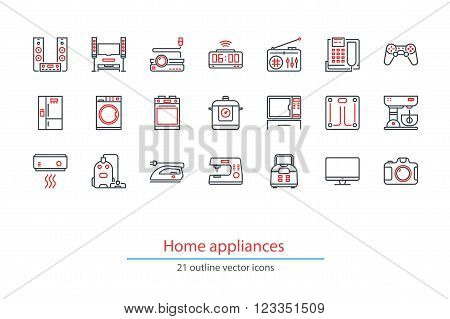 Set of outline home appliancess icons. Black and red colors.