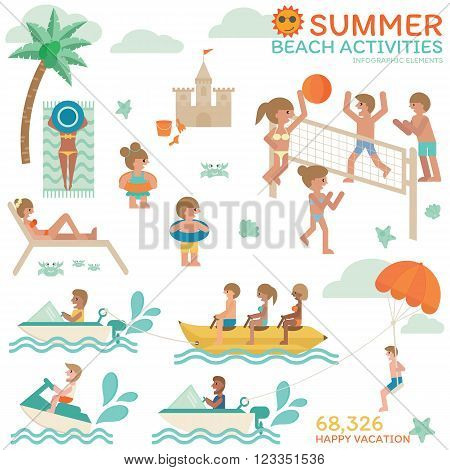 Summer beach activities Happy vacation with family friends Relaxing on holiday with volleyball sunbath and beautiful tanned skin jet ski banana boat and parachute. Infographic flat vector.