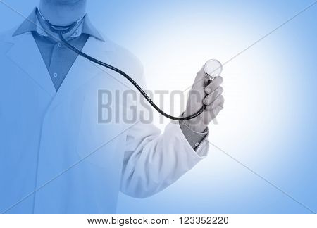 Close Up Of A Doctor's Hand, Holding A Stethoscope, Medical Blue