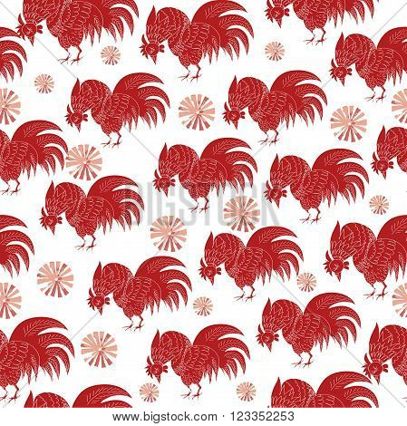 Hand drawn vector seamless pattern with rooster. 2017 is the year of Red Fire Chicken on Chinese zodiac. Can use them for greeting card, prints, calendar, poster, wall paper, wrapping.