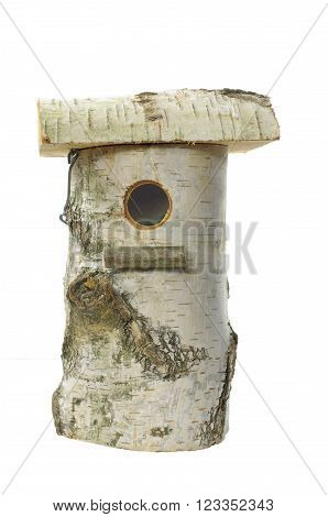 wooden box bird on a white background