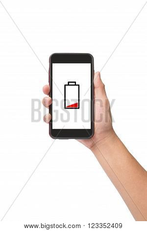 Hand holding smart phone with low battery icon on screen isolated on white