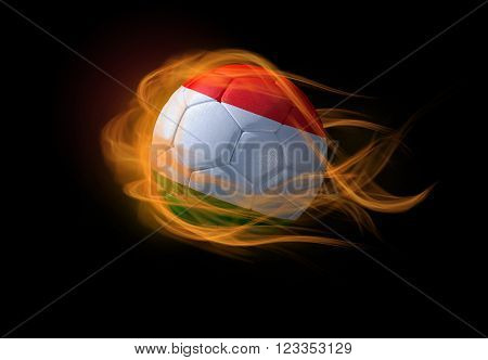 Soccer ball with the national flag of Hungary on fire, 3D Illustration