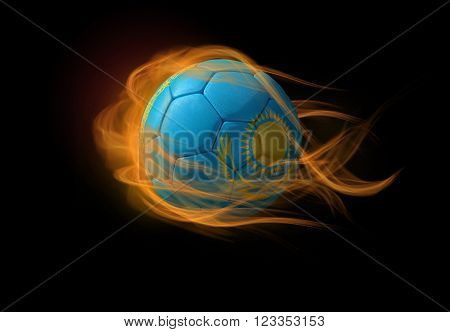 Soccer ball with the national flag of Kazakhstan on fire, 3D Illustration