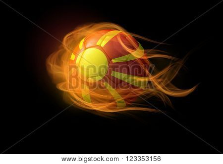 Soccer ball with the national flag of Macedonia on fire, 3D Illustration