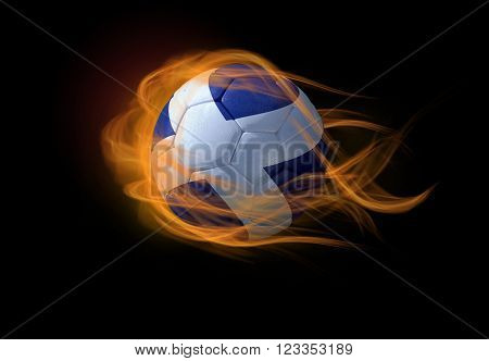 Soccer ball with the national flag of Scotland on fire, 3D Illustration