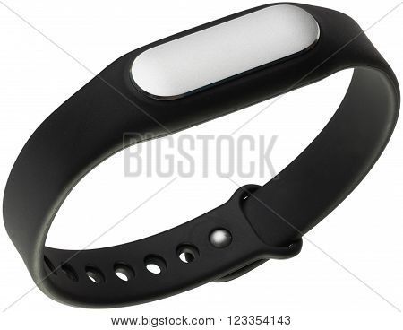 Black with silver sensor smart sport wristband isolated