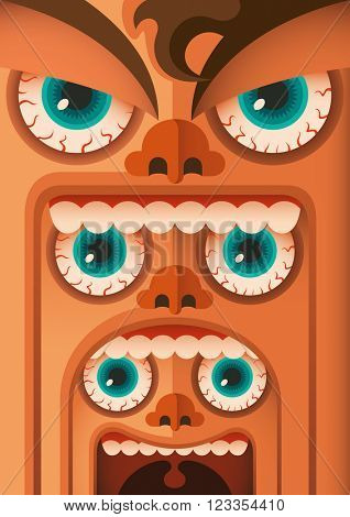 Funny faces concept. Vector illustration.