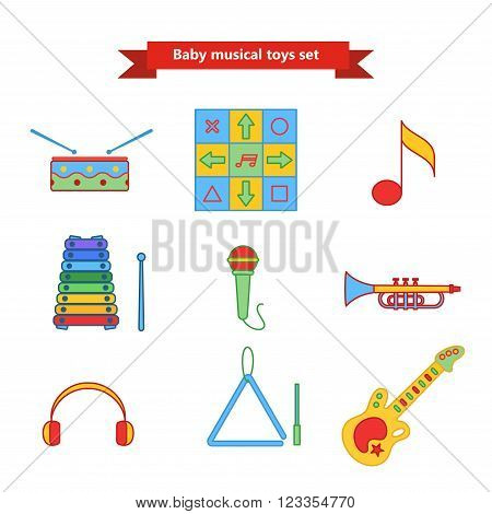 Set of vector icons of musical instrumen. Vector illustration in a flat style. Collection  vector elements for web design, mobile applications, design flyers, discounts and advertising