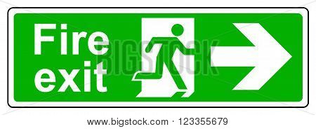 A view of a Fire exit right sign