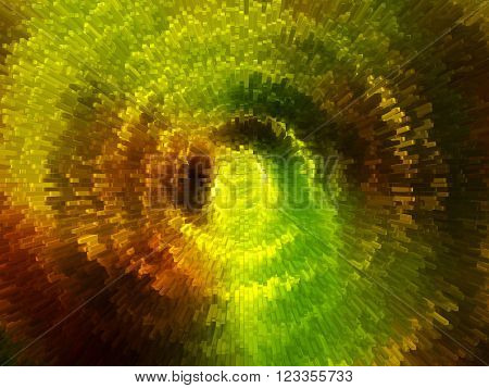 Abstract background with explosion of movements in metallic blocks